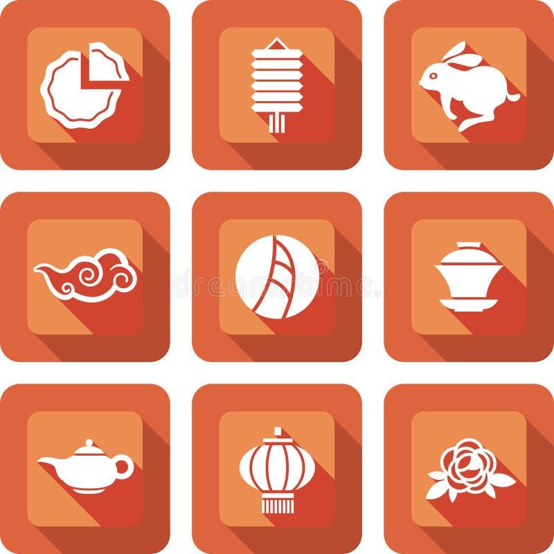 Chinese medio het pictogramreeks van het de herfstfestival vector illustratie