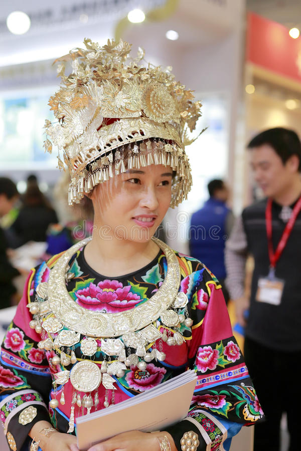 Chinese miao ethnic woman. Wearing silver at amoy city, china stock images