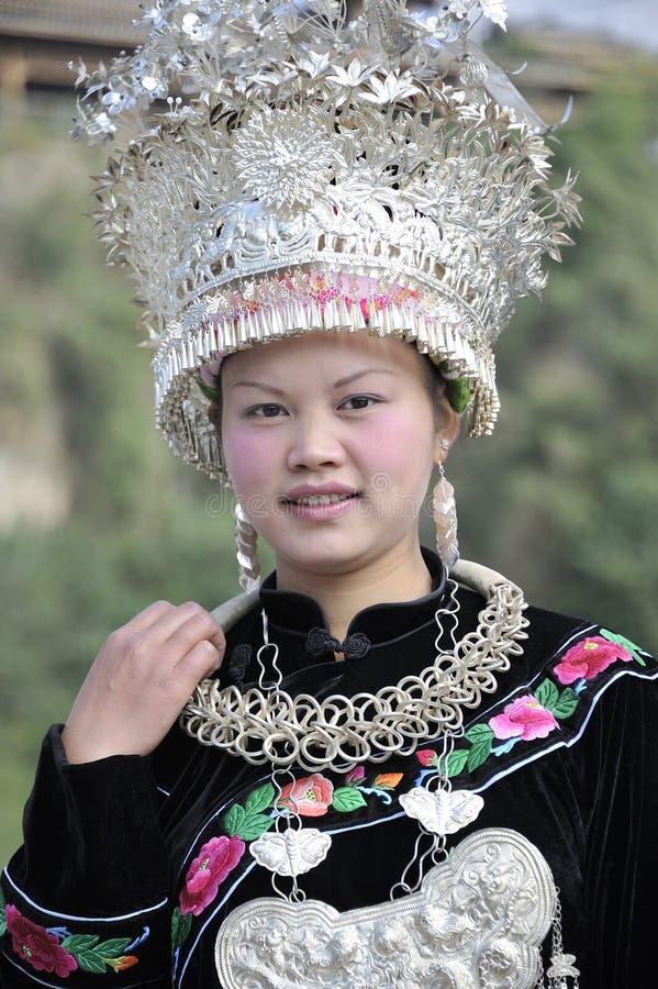 Chinese Miao nationaliteitsvrouw royalty-vrije stock afbeelding