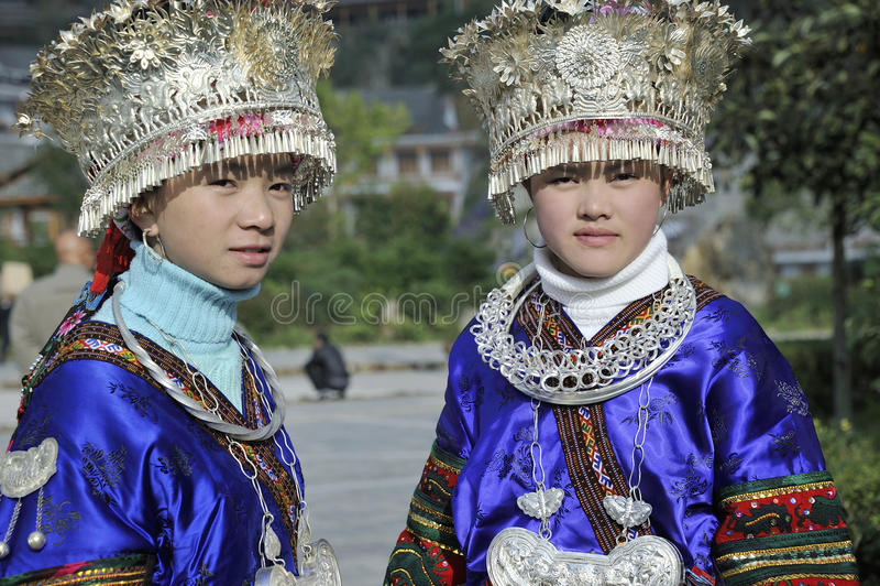 Chinese Miao nationality girls stock photos