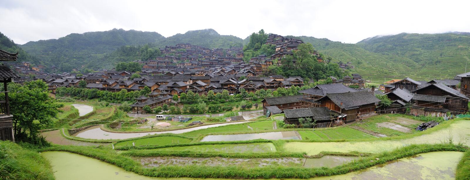 The chinese miao nationality wooden house panorama stock photo