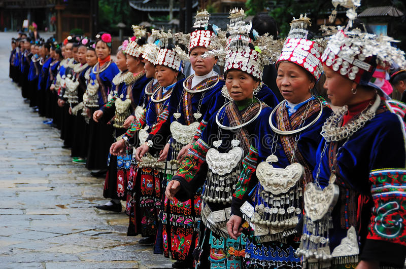 The chinese miao old women stock photography