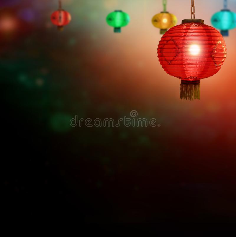 Chinese mid-autumn festival background with laterns royalty free stock image