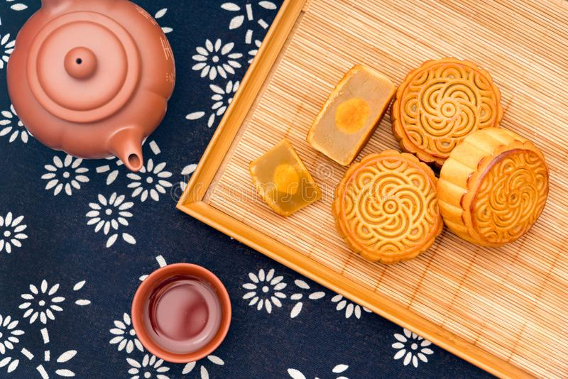 Chinese Mid-Autumn Festival delicious mooncakes on trays royalty free stock photo