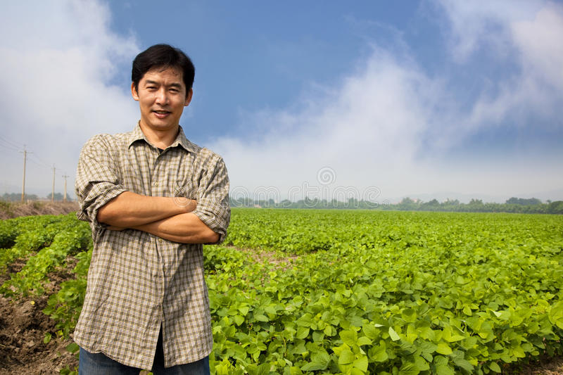 Chinese middle aged farmer stock photo