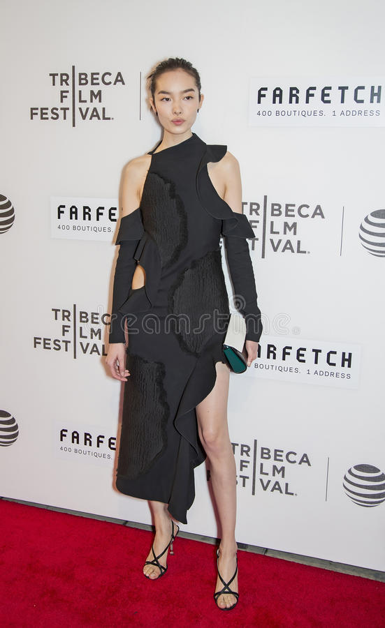 """Chinese Model Fei Fei Sun. Chinese fashion model Fei Fei Sun arrives on the red carpet for the world premiere of """"The First Monday in May,"""" at the royalty free stock photos"""