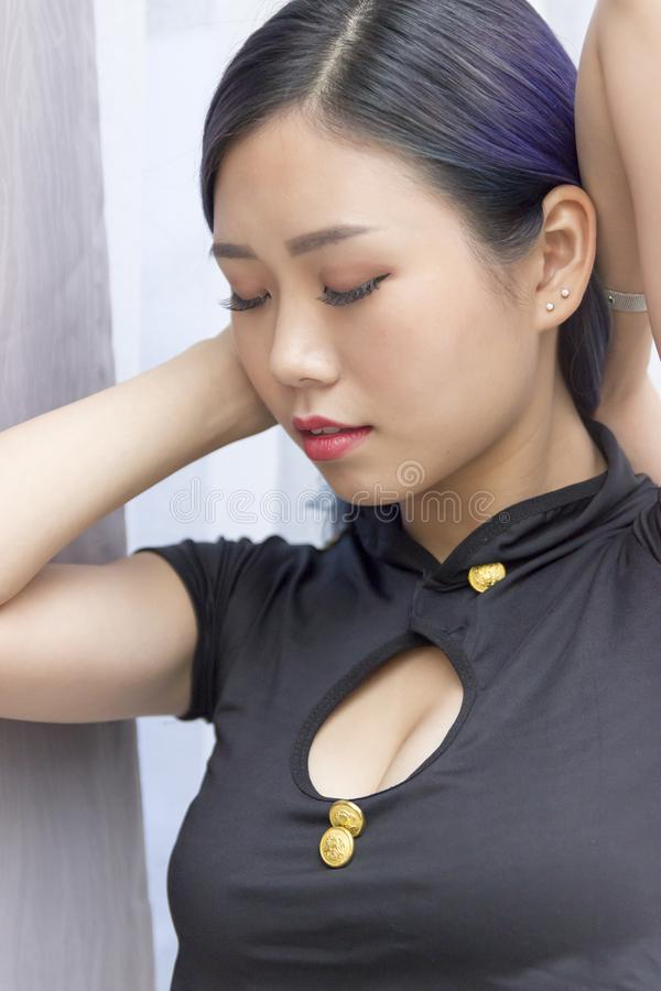 Chinese model pretty face stock photo