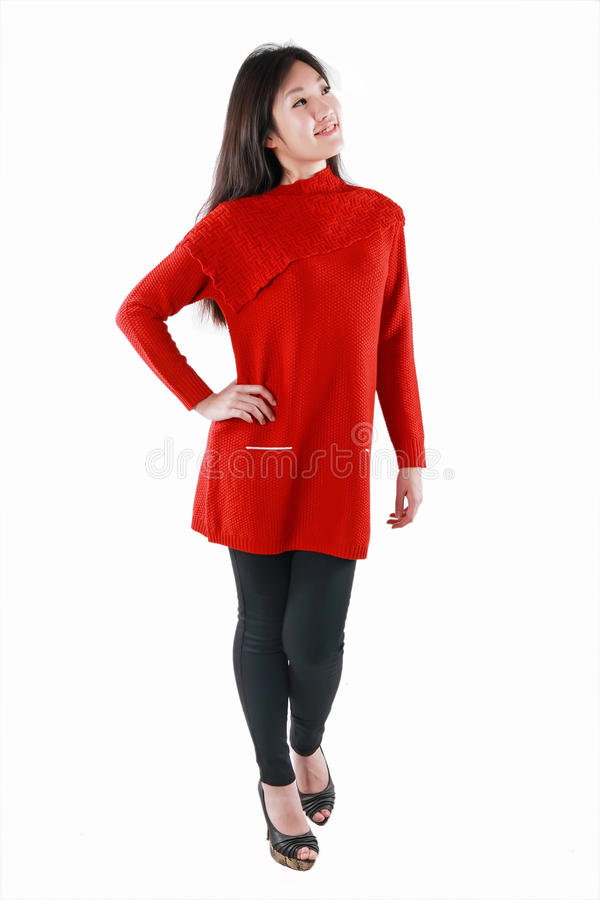 Download Chinese model in red dress stock photo. Image of fashion - 28605034