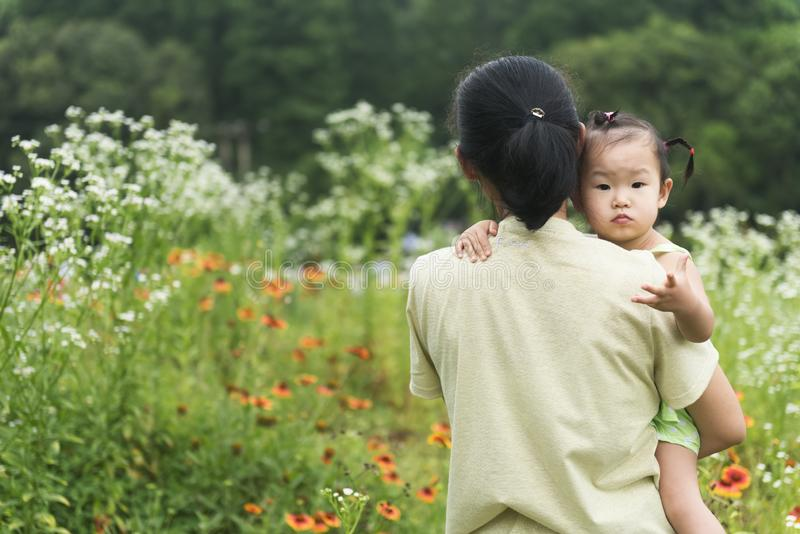 Chinese mom holding daughter in arms in field stock photos