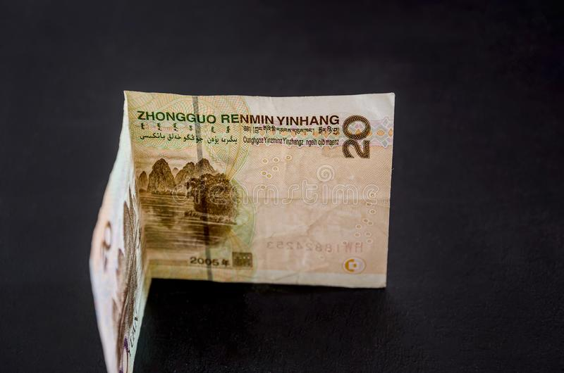 Chinese money on a black background. Yuan close up. 20 yuan. Chinese money on a black background. Yuan close up stock images