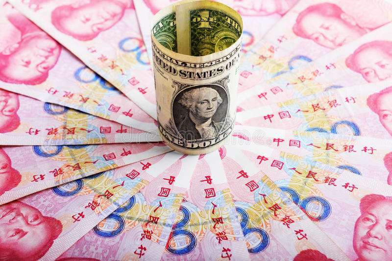 Chinese money rmb banknote and American dollar royalty free stock photography