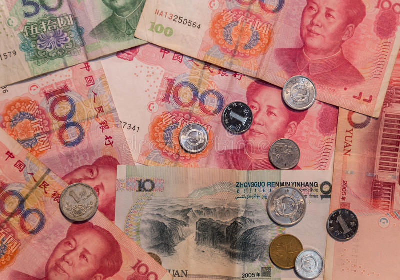 Chinese money Yuan currency background. Background yuan bills of different denominations stock images