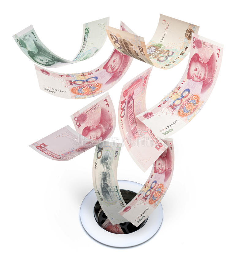 Chinese China Money Yuan Drain Devaluation. Chinese yuan money going down the drain royalty free stock image