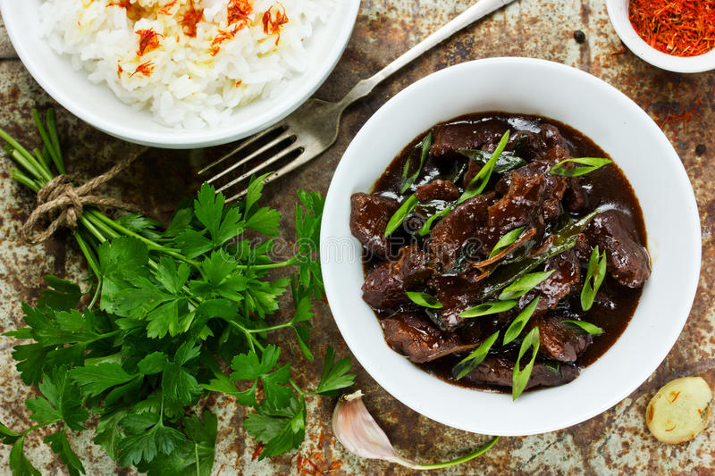 Chinese mongolian beef stir fry. Mongolian meat - beef stewed in stock photo