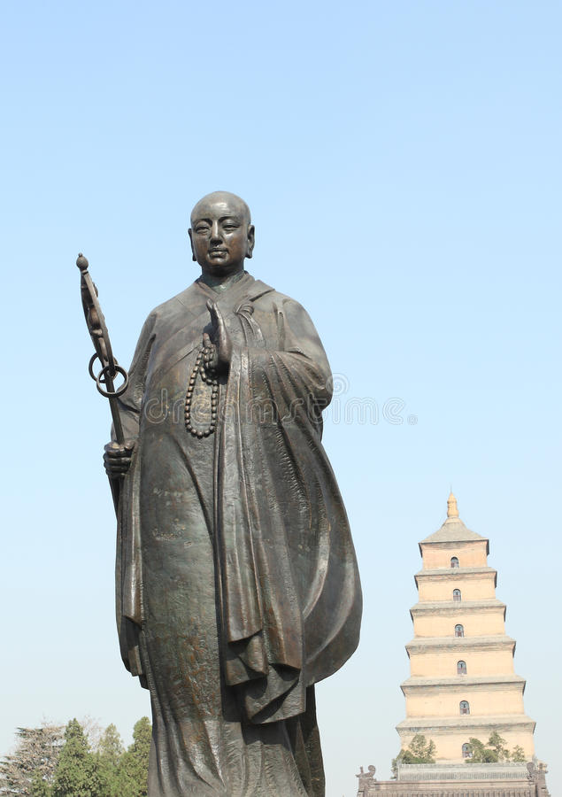 Chinese monk. Status of the most famous Chinese monk, Xi'an, China stock photography