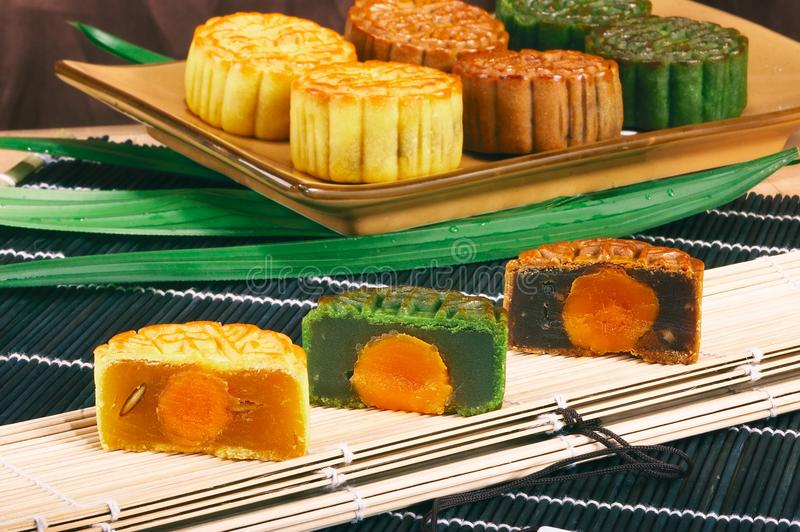 Chinese moon cake. Ese moon cake-- food for Chinese mid-autumn festival royalty free stock photos