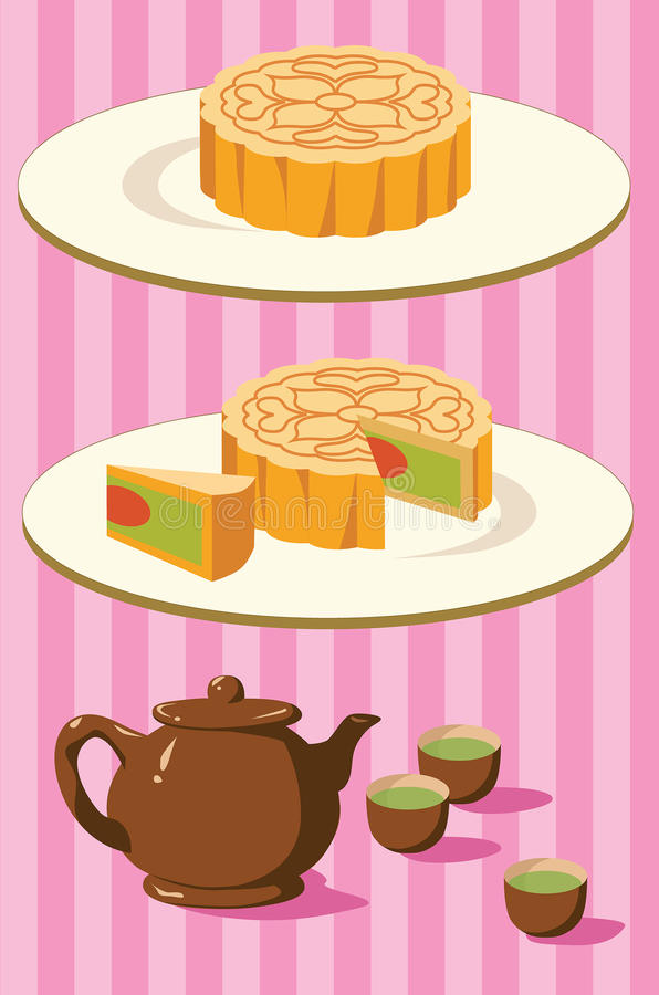 Free Chinese Moon Cake And Tea For Mid Autumn Festival Stock Images - 73358174