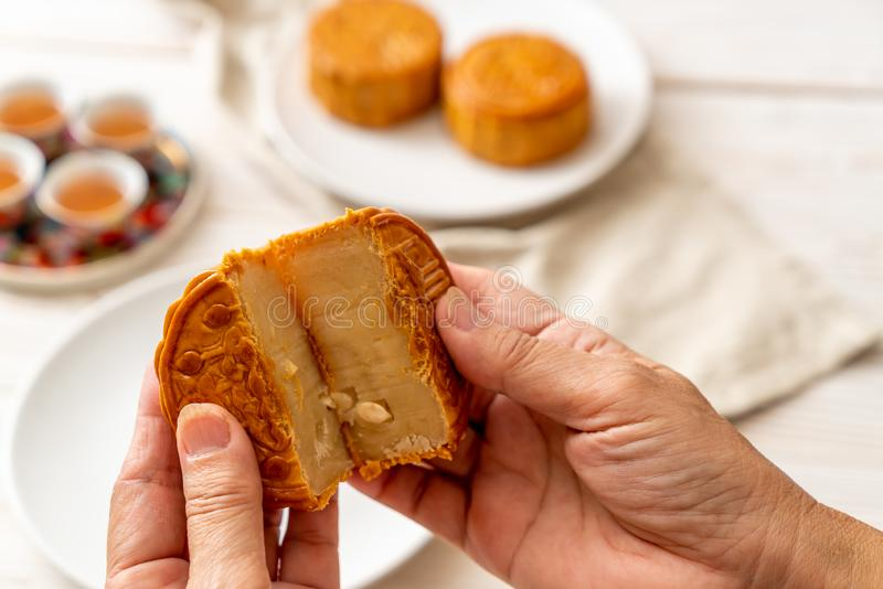 Chinese moon cake for Chinese mid-autumn festival royalty free stock images