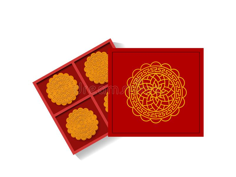 Chinese moon cake in opened gift box, top view, vector stock illustration