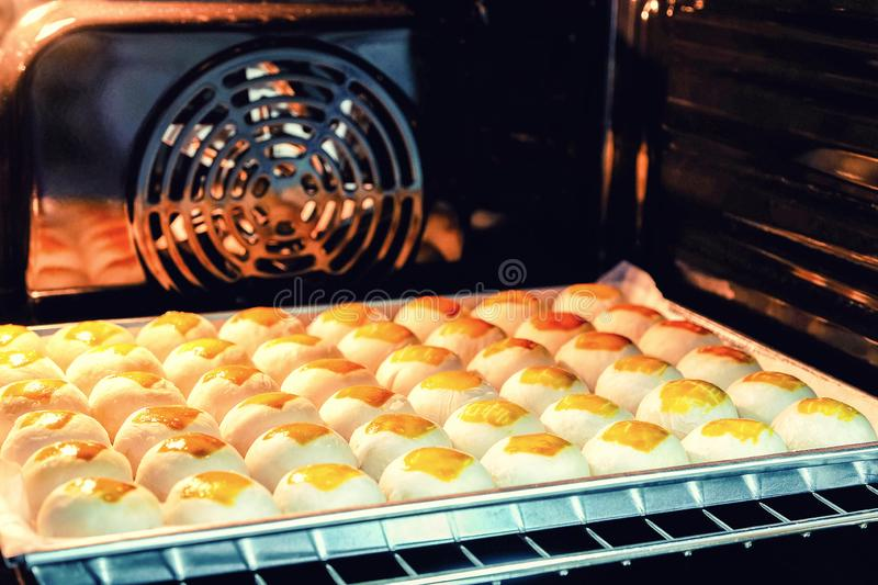 Chinese moon cakes. Are baked in the oven stock photo