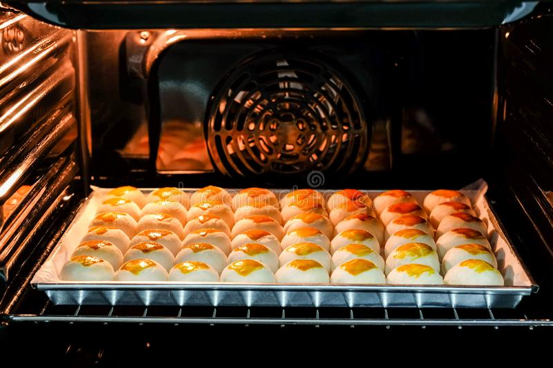 Chinese moon cakes. Are baked in the oven stock photography