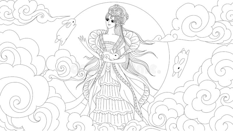 Chinese moon goddess with cute rabbits for design element and coloring book page for anti stress.Vector illustration vector illustration