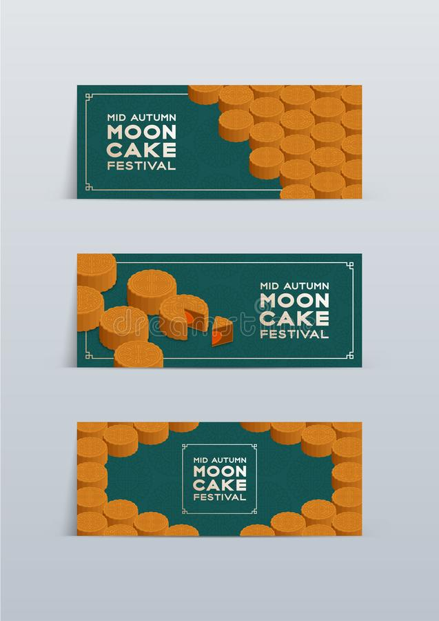 Chinese Mooncake 3D isometric, Mid-autumn Moon festival concept poster and banner horizontal design illustration isolated on green. Background with copy space vector illustration