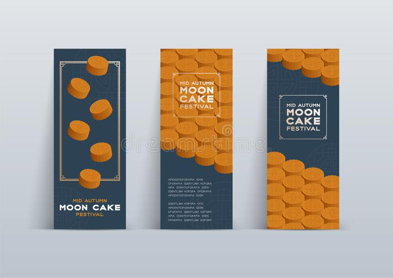 Chinese Mooncake 3D isometric, Mid-autumn Moon festival concept poster and banner vertical design illustration isolated on blue. Background with copy space royalty free illustration