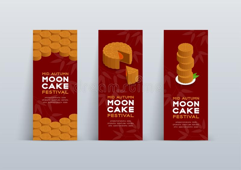 Chinese Mooncake 3D isometric, Mid-autumn Moon festival concept poster and banner vertical design illustration isolated on red. Background with copy space stock illustration