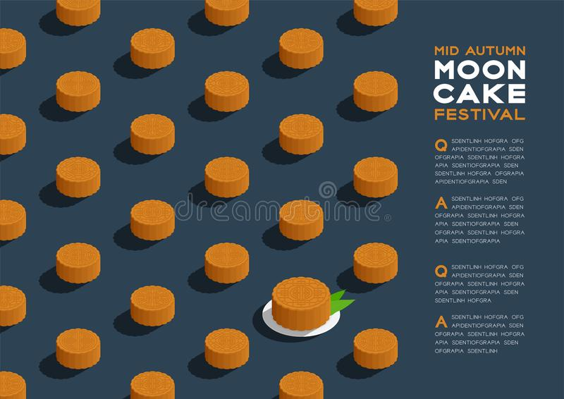 Chinese Mooncake 3D isometric pattern, Mid-autumn Moon festival concept poster and banner horizontal design illustration isolated. On blue background with copy vector illustration