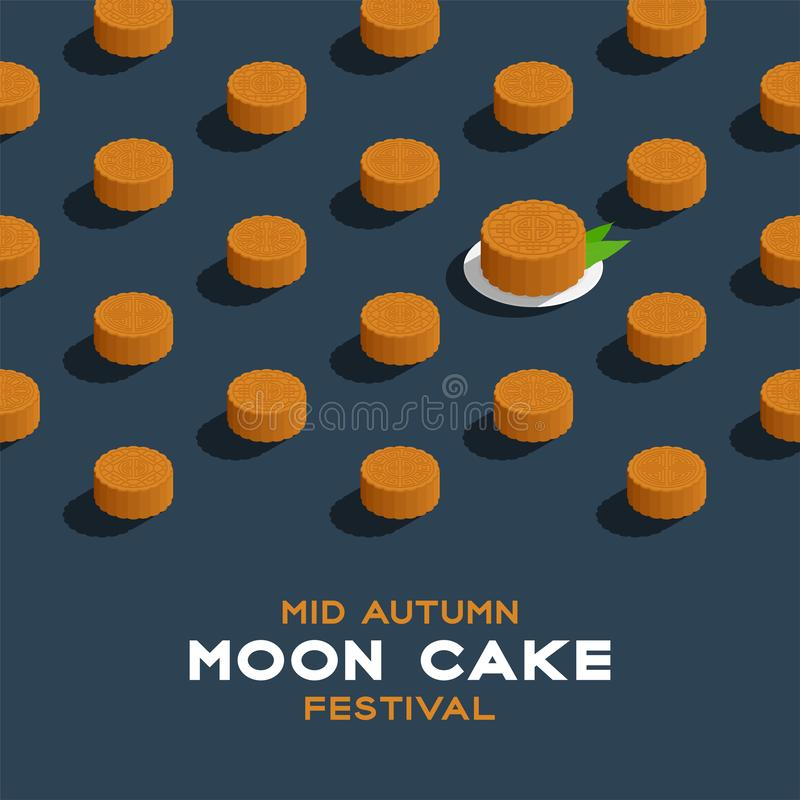 Chinese Mooncake 3D isometric pattern, Mid-autumn Moon festival concept poster and banner square design illustration isolated on. Blue background with copy royalty free illustration