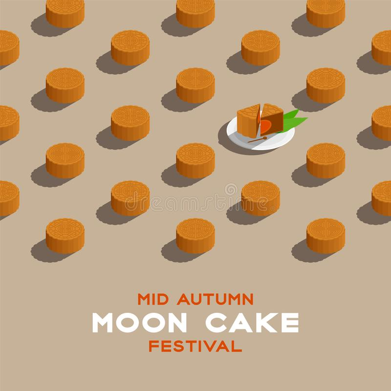 Chinese Mooncake 3D isometric pattern, Mid-autumn Moon festival concept poster and banner square design illustration isolated on. Beige background with copy vector illustration