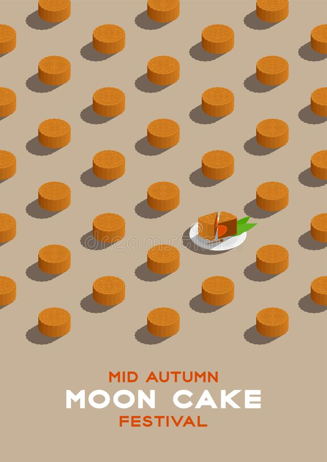 Chinese Mooncake 3D isometric pattern, Mid-autumn Moon festival concept poster and banner vertical design illustration isolated on. Beige background with copy vector illustration