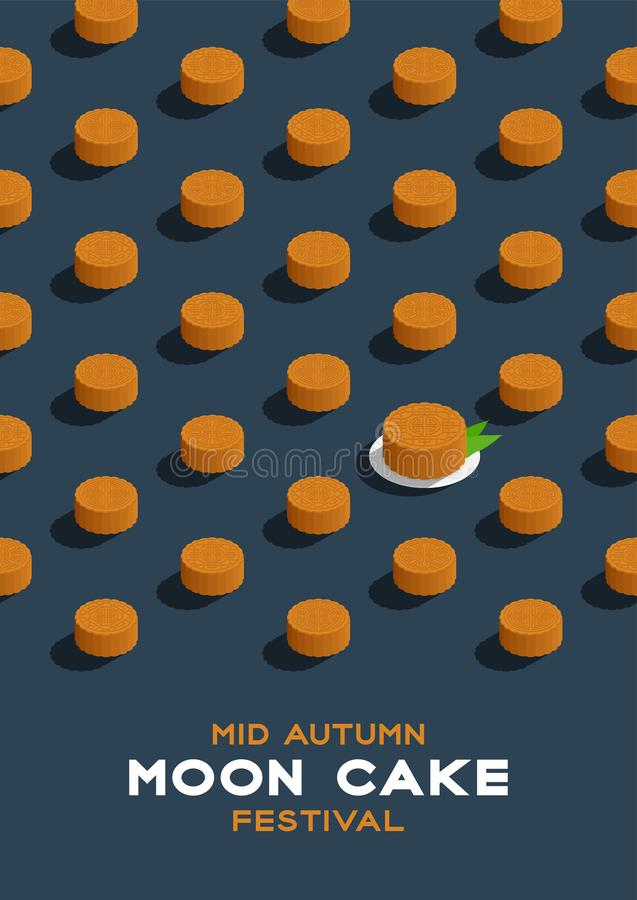 Chinese Mooncake 3D isometric pattern, Mid-autumn Moon festival concept poster and banner vertical design illustration isolated on. Blue background with copy royalty free illustration