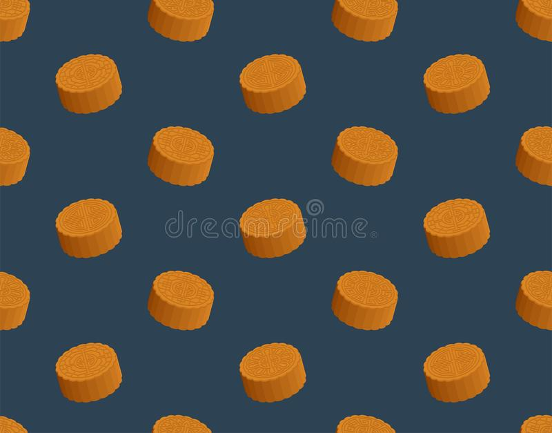 Chinese Mooncake 3D isometric seamless pattern, Mid-autumn Moon festival concept poster and banner design illustration isolated on. Blue background, vector eps vector illustration