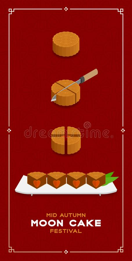 Chinese Mooncake slice 4 pieces 3D isometric, Mid-autumn Moon festival concept poster and banner vertical design illustration. Isolated on red background with vector illustration