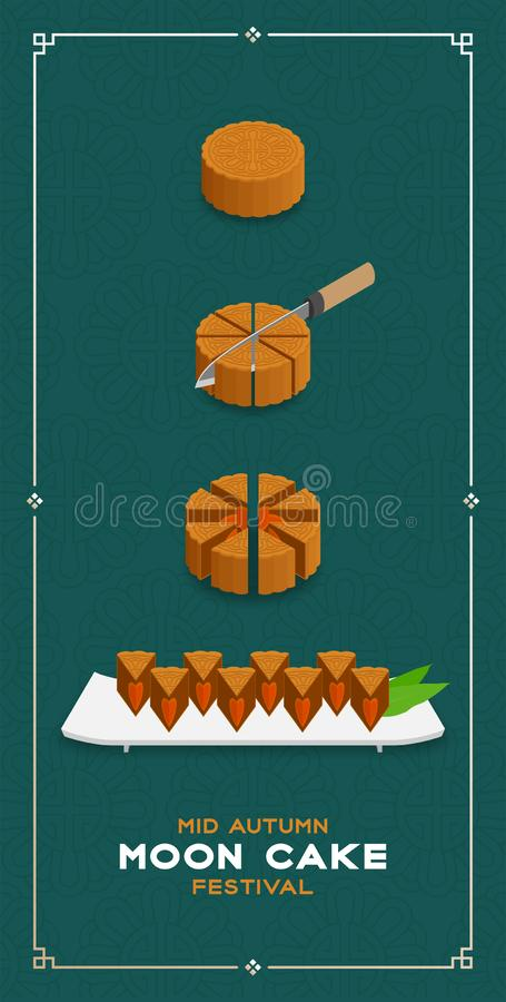 Chinese Mooncake slice 8 pieces 3D isometric, Mid-autumn Moon festival concept poster and banner vertical design illustration. Isolated on green background with stock illustration