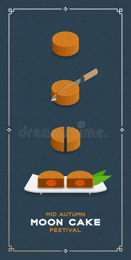 Chinese Mooncake slice 2 pieces 3D isometric, Mid-autumn Moon festival concept poster and banner vertical design illustration. Isolated on blue background with vector illustration