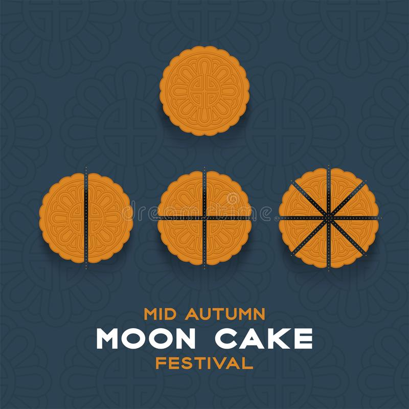 Chinese Mooncake slice 2, 4, 8 pieces top view, Mid-autumn Moon festival concept poster and banner vertical design illustration. Isolated on blue background vector illustration