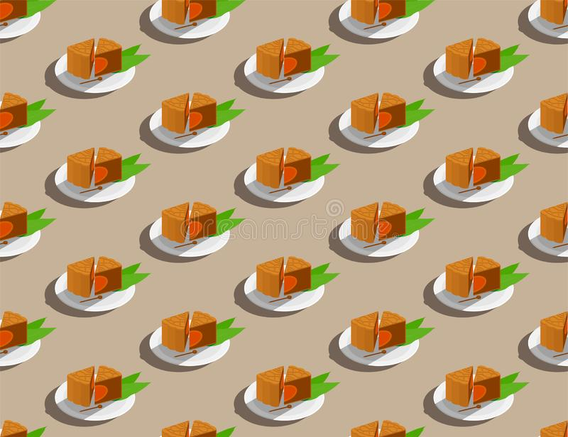 Chinese Mooncake slice on plate 3D isometric seamless pattern, Mid-autumn Moon festival concept poster and banner design. Illustration isolated on beige vector illustration