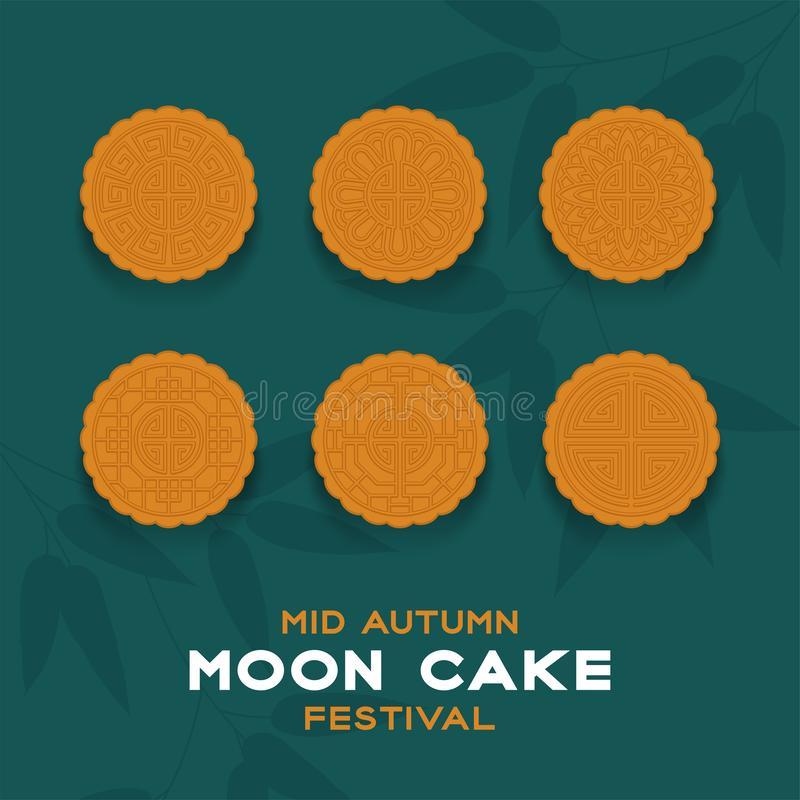 Chinese Mooncake top view, Mid-autumn Moon festival concept poster and banner vertical design illustration isolated on green. Background with copy space, vector royalty free illustration