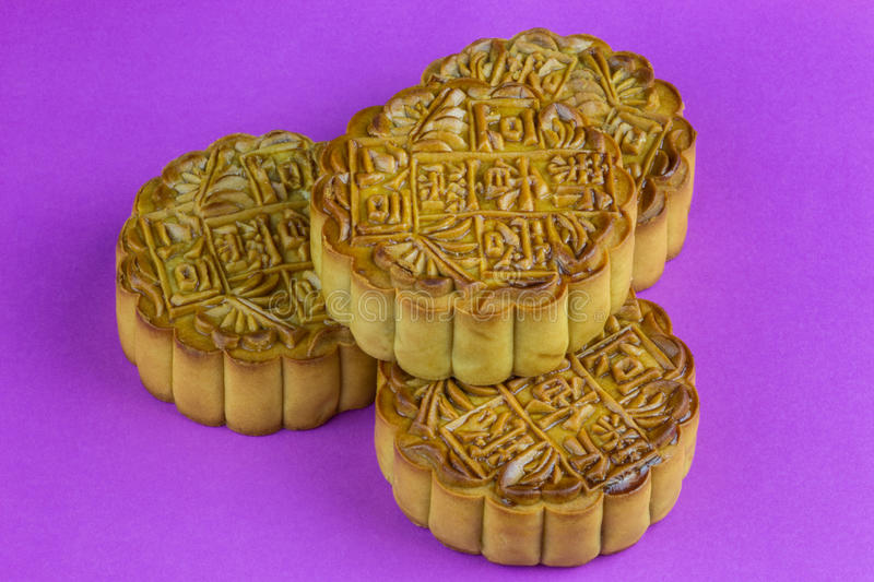 Chinese Mooncakes on a Purple Surface royalty free stock photos