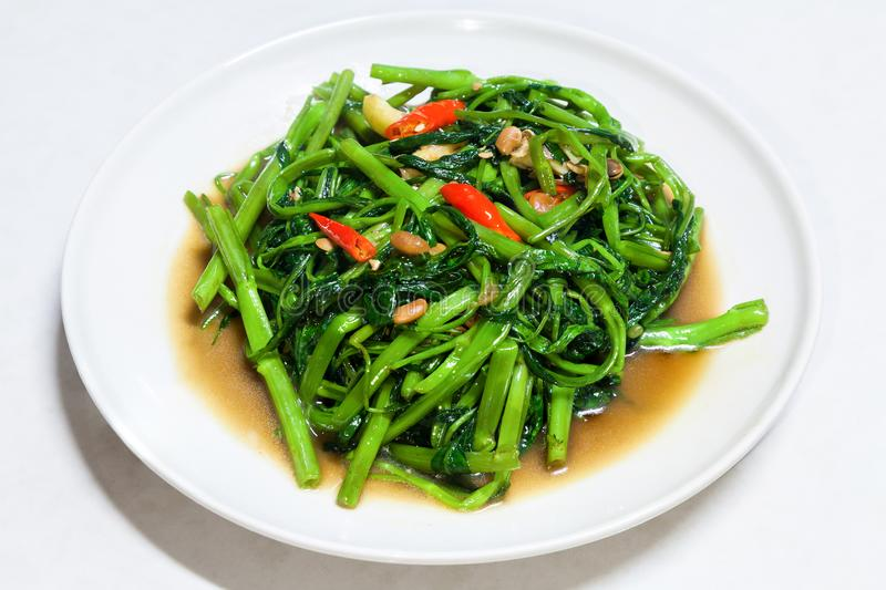 Chinese Morning Glory Stir Fried. Thailand stock images
