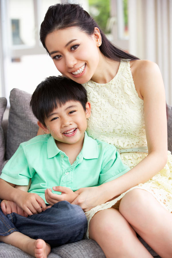 Download Chinese Mother And Son At Home Together Stock Photo - Image: 26246196