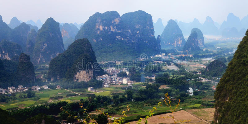 Chinese mountain landscape in guilin yangshuo. Beautiful karst mountain landscape in guilin ,aerial view from yangshuo moon hill stock photos