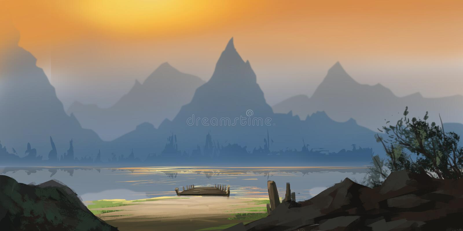 Chinese Mountain and River. Fiction Backdrop. Concept Art royalty free illustration