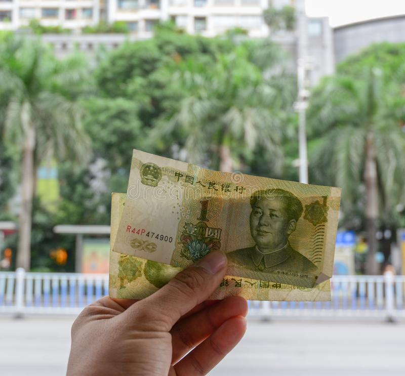 Chinese munt 1 Yuansbankbiljet royalty-vrije stock foto