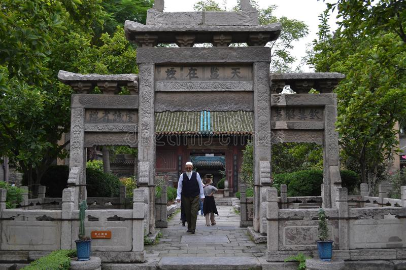 Chinese Muslims around Xi`an Great Mosque, one of the most impor royalty free stock photography
