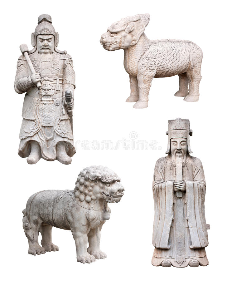 Chinese Mythical Animals, Soldier, King, Isolated. Chinese statues from the Ming Dynasty, isolated on white. Pictured here are mythical animals such as the royalty free stock images