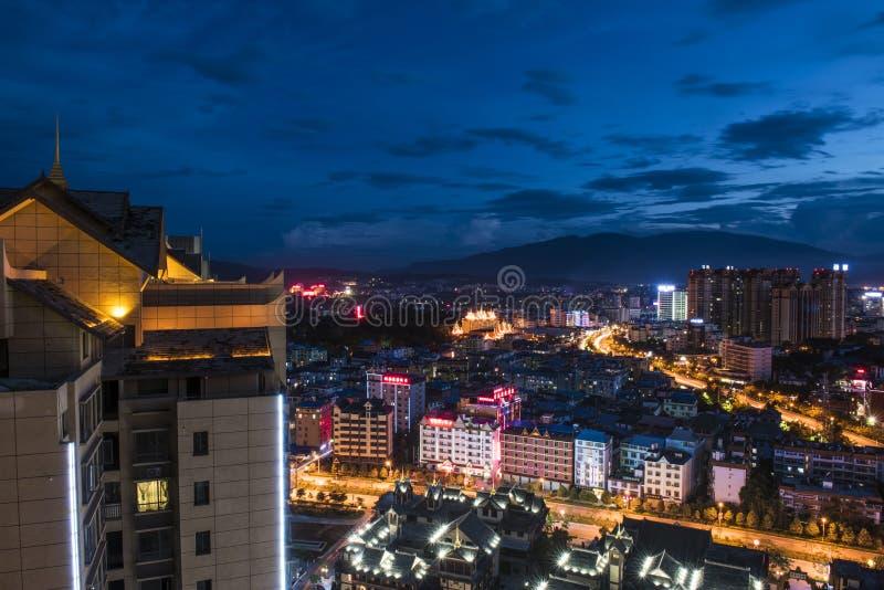 Night view of Xishuangbanna, China stock photography